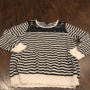 Torrid black and white stripe knit sweater + lace